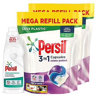 2x50W Persil Colour 3in1 Laundry Capsules & 12W Persil Antibac Laundry Sanitiser