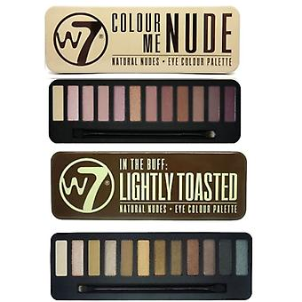 W7 Eyeshadow palety - (kolor mnie nago + lekko tosty)