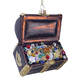 Treasure Chest Filled with Jewels Christmas Holiday Glass Ornament