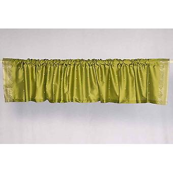 Olive Green - Rod Pocket Top It Off handmade Sari Valance - Pair