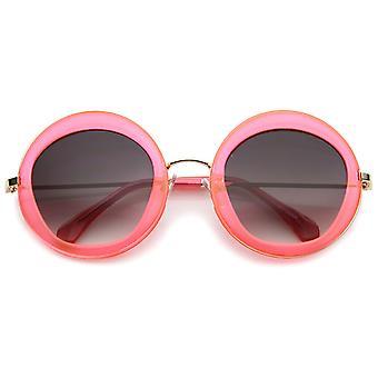 Retro Bold Penta cut gradiënt lens oversize ronde zonnebril 56mm