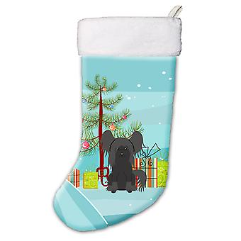 Merry Christmas Tree Chinese Crested Black Christmas Stocking