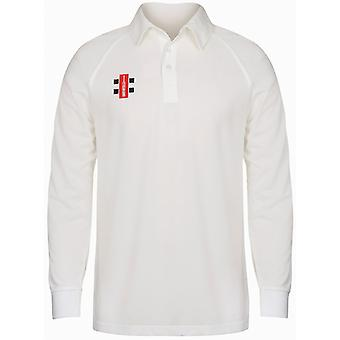 Cricket Shirt met grijs-Nicolls Childrens/Kids Matrix lange mouwen