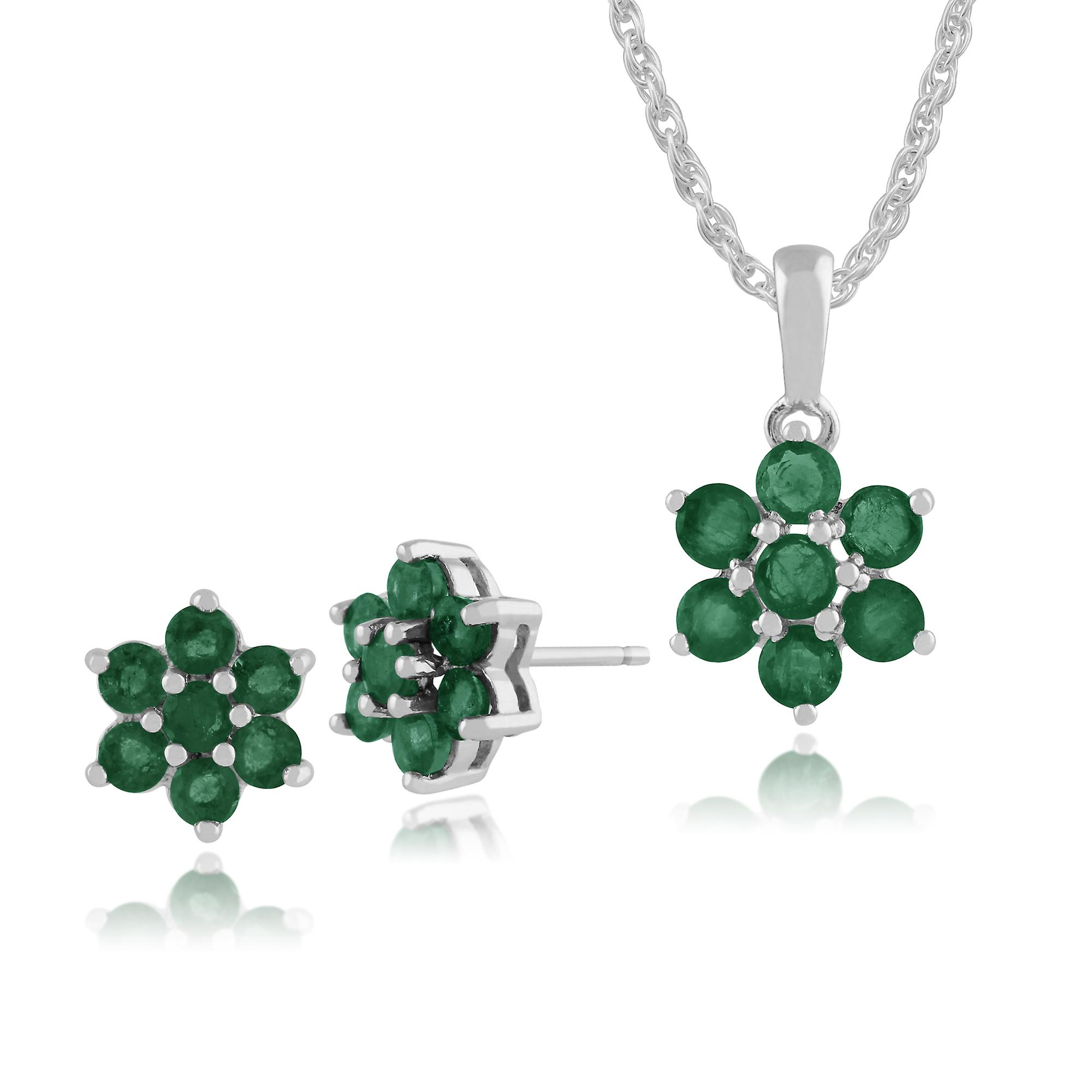 Gemondo 925 Sterling Silver Emerald Floral Stud Earrings & 45cm Necklace Set