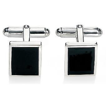 Modne spinki srebrne 925 czarny Agat