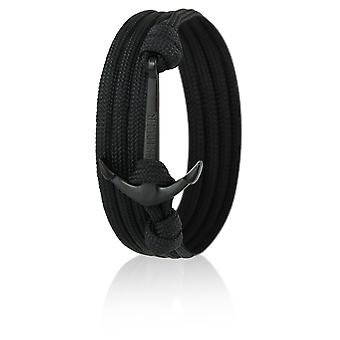 Patrón pulsera ancla de nylon negro con ancla negra 6620