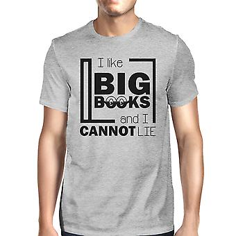 I Like Big Books Mens Gray Funny Graphic Tee For Book Lovers Gifts