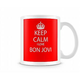 Houd kalm ik liefde Bon Jovi afgedrukt mok