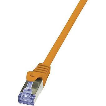 LogiLink RJ45 Networks Cable CAT 6A S/FTP 25.00 cm Orange Flame-retardant, incl. detent