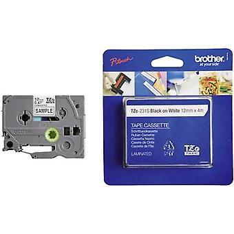 Étiquetage ruban Brother TZe, couleur de ruban TZe-231 TZ: police blanc couleur: noir 12 mm 4 m