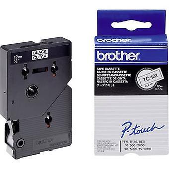 Labelling tape Brother TC TC-101 Tape colour: Transparent Font colour:Black 12 mm 7.7 m