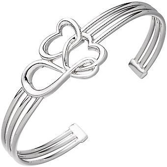 Manschetten / öppen armband hjärta hjärta oändlig 925 sterling silverarmband