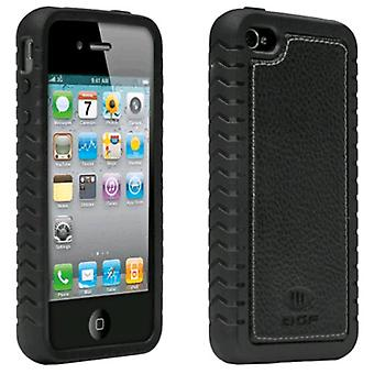 5 Pack -Ballistic TPU Shell Case with Leather Inlay for Apple iPhone 4/4S (Black)