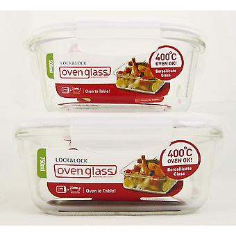 Lock & Lock Ovenglass Set of 2 Square Glass Containers