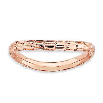 2.25mm 925 Sterling Silver Patterned Stackable Expressions Polished Pink plate Wave Ring Jewelry Gifts for Women - Ring