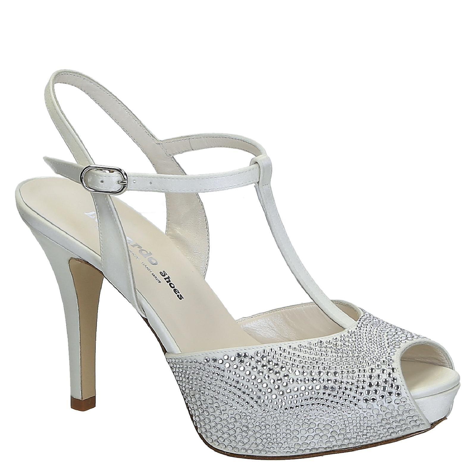 Wedding white satin with cristals open toe platform sandals rKExV