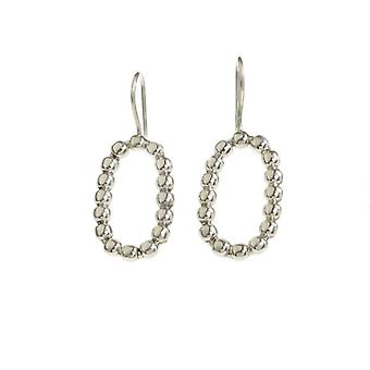 Cavendish French Sterling Silver Beaded Oval Earrings
