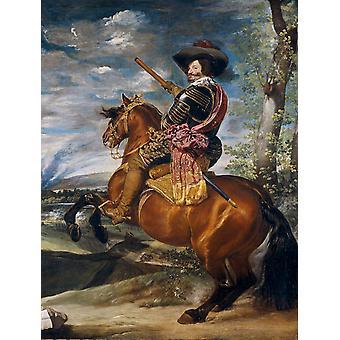 Equestraian retrato de Gaspar de Guzmán, Diego Velazquez, 50x40cm