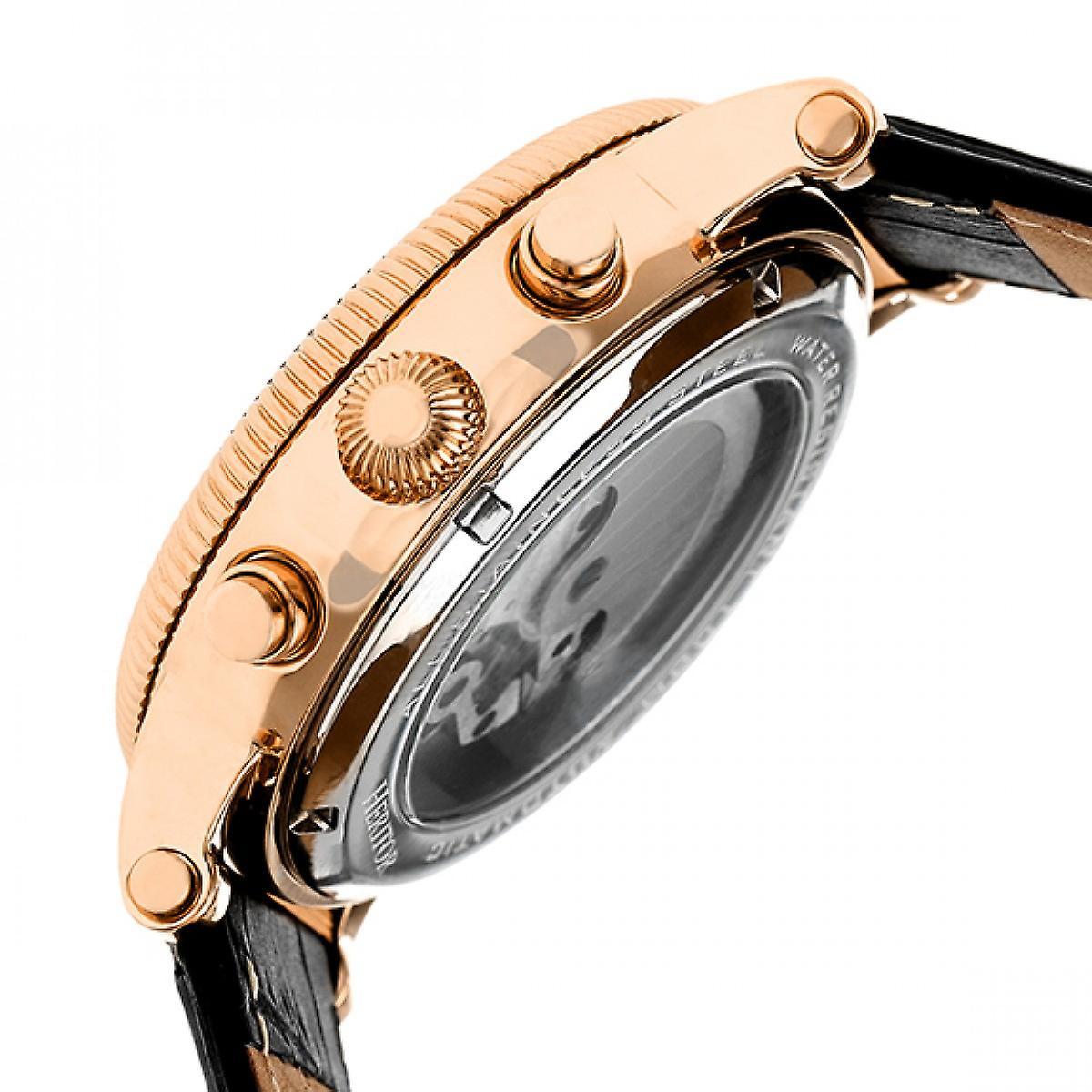 Heritor Automatic Winston Semi-Skeleton Leather-Band Watch - Rose Gold/Black
