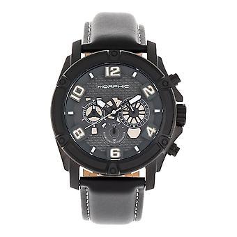 MORPHIC M73 serie chronograaf lederen-Band horloge - zwart