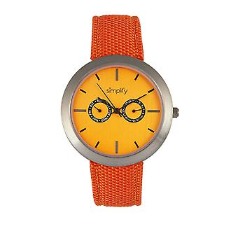 Vereenvoudiging van het horloge van de 6100 Canvas-overlay riem w / dag/datum - oranje