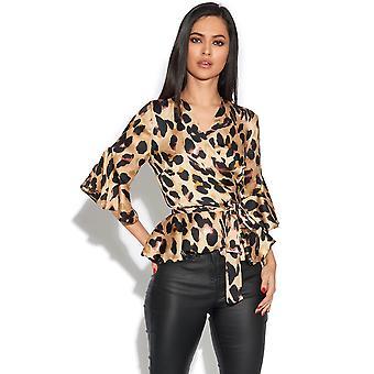Leopard Print Peplum Wrap Over Top