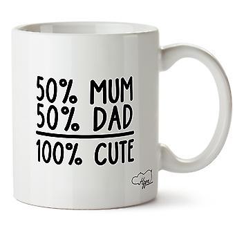 Hippowarehouse 50% Mum 50% Dad 100% Cute Printed Mug Cup Ceramic 10oz