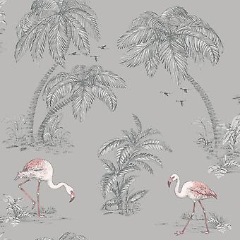 Flamingo Lake Wallpaper Palm Trees Tropical Birds Grey Coral Holden