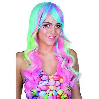 Čokoládová paruka dlouhé vlasy paruka pastelové tóny karneval jednorožec