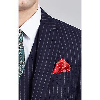 Dobell Mens Navy Suit Jacket Tailored Fit Notch Lapel Chalk Stripe