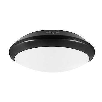 Integral - LED Flush Ceiling Light Bulkhead 24W 4000K 2400lm IK10 3hr Emergency / adjustable Sensor Matt Black IP66 - ILBHA044