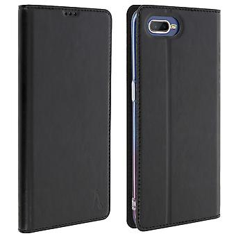 Akashi slim case, flip wallet cover for Oppo RX17 Neo - Black