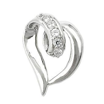 Родиевым покрытием стерлингового серебра кубического циркония кулон сердце сердце кулон стерлингового серебра 925 пробы