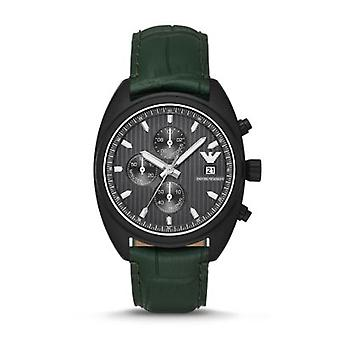 Emporio Armani Men's Black Dial Sportivo Green Leather Watch Ar6125