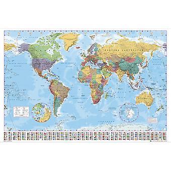 Verden kort 2012 kæmpe plakat 100x140cm