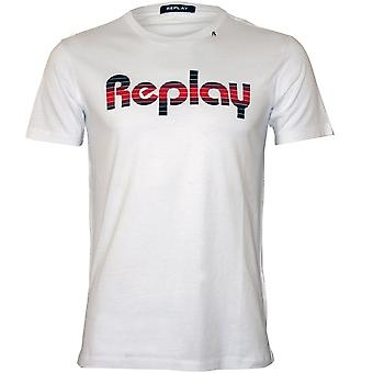 Replay Retro Multicolor Logo T-Shirt, Blanc