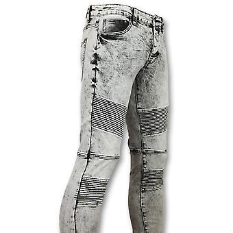 Biker Skinny Jeans - Grey Jeans - 800-11