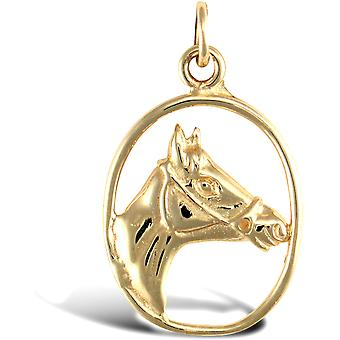 Jewelco London Solid 9ct Yellow Gold Framed Horse Head Charm Pendant