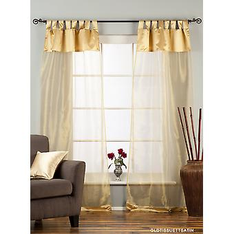 Golden Tab Top Sheer Tissue Curtain / Drape / Panel - 84