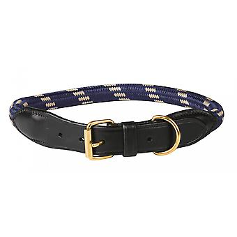 Weatherbeeta Rope Leather Dog Collar - Navy Blue/brown