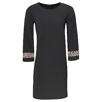 Latte Leopard Detail A-line Long Sleeve Dress
