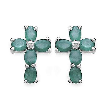 Jaipuri.instyle - Damen Lappen Ohrringe mit Smaragd (2 ct) - Silber Sterling 925 - 13 -65 mm - Kabeljau. E223E