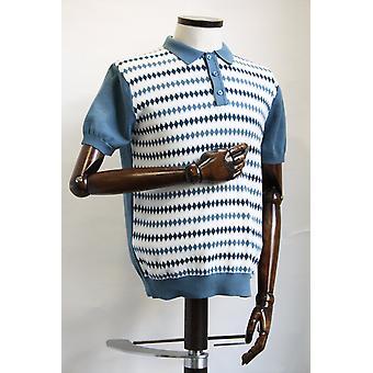 Merc London Farley Vintage Blue Knitted Polo Shirt