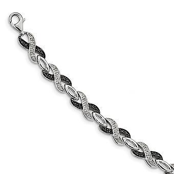 925 Sterling Silver Gift Boxed Rhodium verguld Fancy Lobster Sluiting Zwart-Witte Diamond Armband Sieraden Geschenken voor W