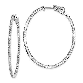 925 Sterling Silver Polished Hinged hoop Safety clasp Rhodium Plated CZ Cubic Zirconia Simulated Diamond In and Out Oval