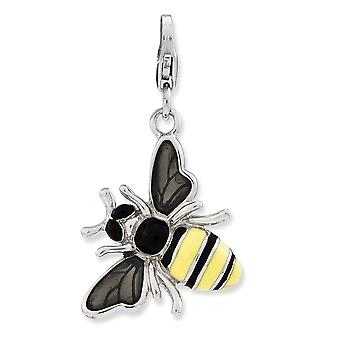 925 Sterling Silver Rhodium plated Fancy Lobster Closure Enameled 3 d Yellow Jacket With Lobster Clasp Charm Pendant Nec