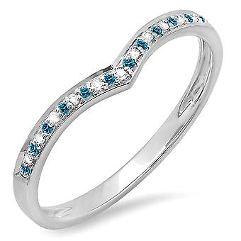 Dazzlingrock Collection 0.10 Carat (ctw) 10K Blue et White Diamond Wedding Stackable Band Ring 1/10 CT, White Gold