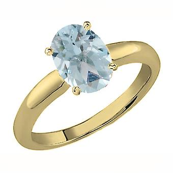 Dazzlingrock Collection 18K 8X6 MM Oval Cut Aquamarine Ladies Solitaire Bridal Engagement Ring, Yellow Gold