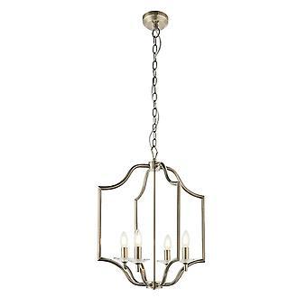 Endon Lainey 4 Licht Anhänger Licht antik Messing Platte & klar Kristall Glas 81916