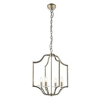 Endon Lainey 4 Light Pendant Light Antique Brass Plate & Clear Crystal Glass 81916